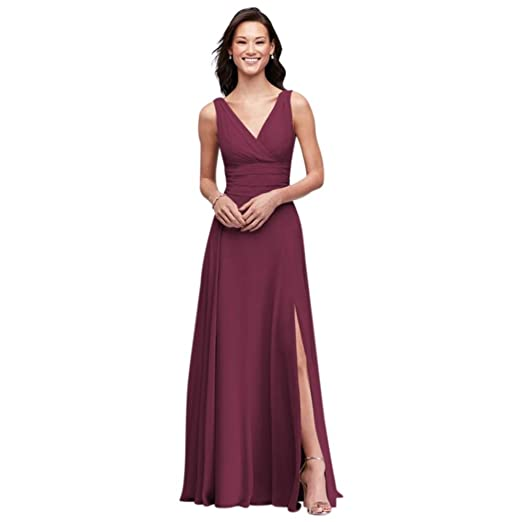 Davids Bridal Surplice Tank Long Chiffon Bridesmaid Dress Style