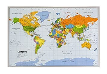 Cork pin board with world map in french 90 x 60 cm amazon cork pin board with world map in french 90 x 60 cm gumiabroncs Gallery