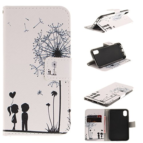 - iPhone X Case (5.8-inch), iPhoneX Cover, MerKuyom [Kickstand] Premium PU Leather Wallet Pouch Folio Magnetic Flip Flap Cover Case for Apple iPhone X (White Dandelion Lover)
