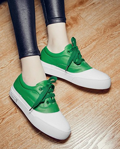 Lace Up Sneakers Toe Womens Contrasted Shoes Color Flats Casual Green Round Cut Aisun Low 8wapq