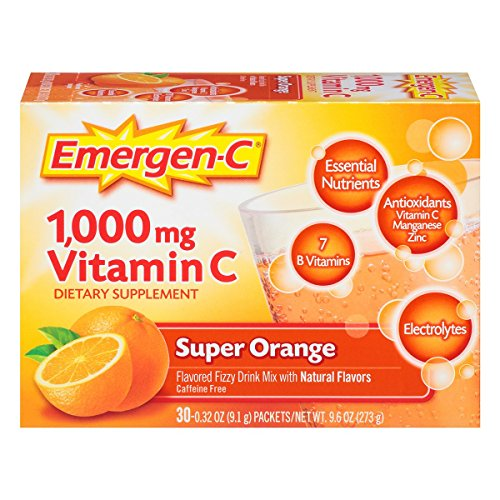 Emergen-C (30 Count, Super Orange Flavor) Dietary Supplement Drink Mix with 1000 mg Vitamin C, 0.32 Ounce Packets, Caffeine Free (Vitamin C C Emergen)