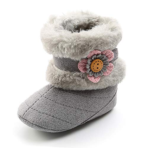 SOFMUO Baby Girls Boys Plush Snow Boots Soft Sole Anti-Slip Mid Calf Warm Winter Toddler Walking Shoes (Grey,0-6 Months)