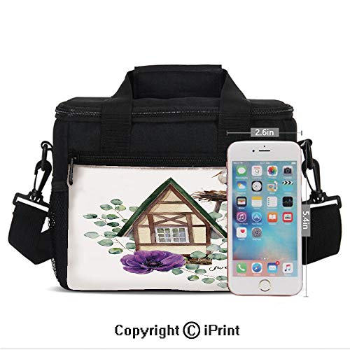 Insulated Lunch Box Watercolor Happy Home Label House in Alpine Style White Stork Nest Decorative Print Portable Lunch Bag Reusable Carry Boxes Cooler Tote Bag for School Work Office Picnic -