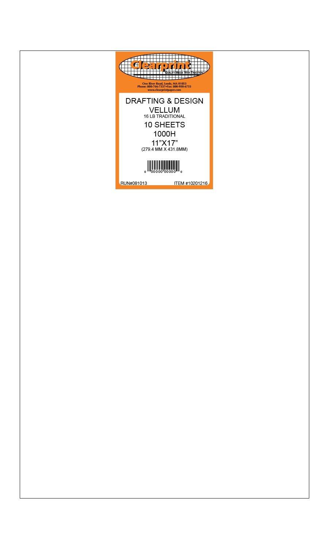 Clearprint 1000H Series 11 x 17 Unprinted Vellum, 10-Sheet Pack (CP10201216) Clearprint - Dummy NIS code