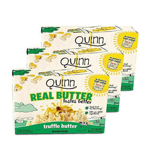 Quinn Snacks Real Butter Tastes Better - Microwave Popcorn Made With Grass-Fed Butter - Great Snack Food For Movie Night, Truffle Butter, 3.4 Ounce (3 Count) (Truffle Butter Recipe)