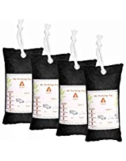 Audew 4 Pack Air Purifier, Air Purifying Bamboo Bag Car Air Freshener Natural Odor Eliminator Home Air Purifiers, Activated Carbon Filter for Cars, Closets, Bathrooms and Pet Areas