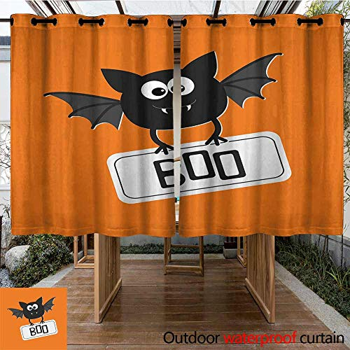 Outdoor Curtains Halloween Cute Funny Bat with Plate Boo Fangs Scare Frighten Seasonal Cartoon Print Simple Stylish 84