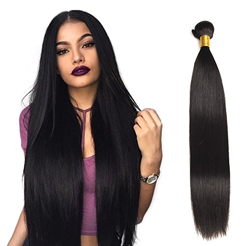 Jaycee Hair Brazilian 3 Bundles Virgin Hair Silky Straight Hair Grade 8A 100% Unprocessed Virgin Human Hair Extensions Natural Black (100+/-5g)/pc(10