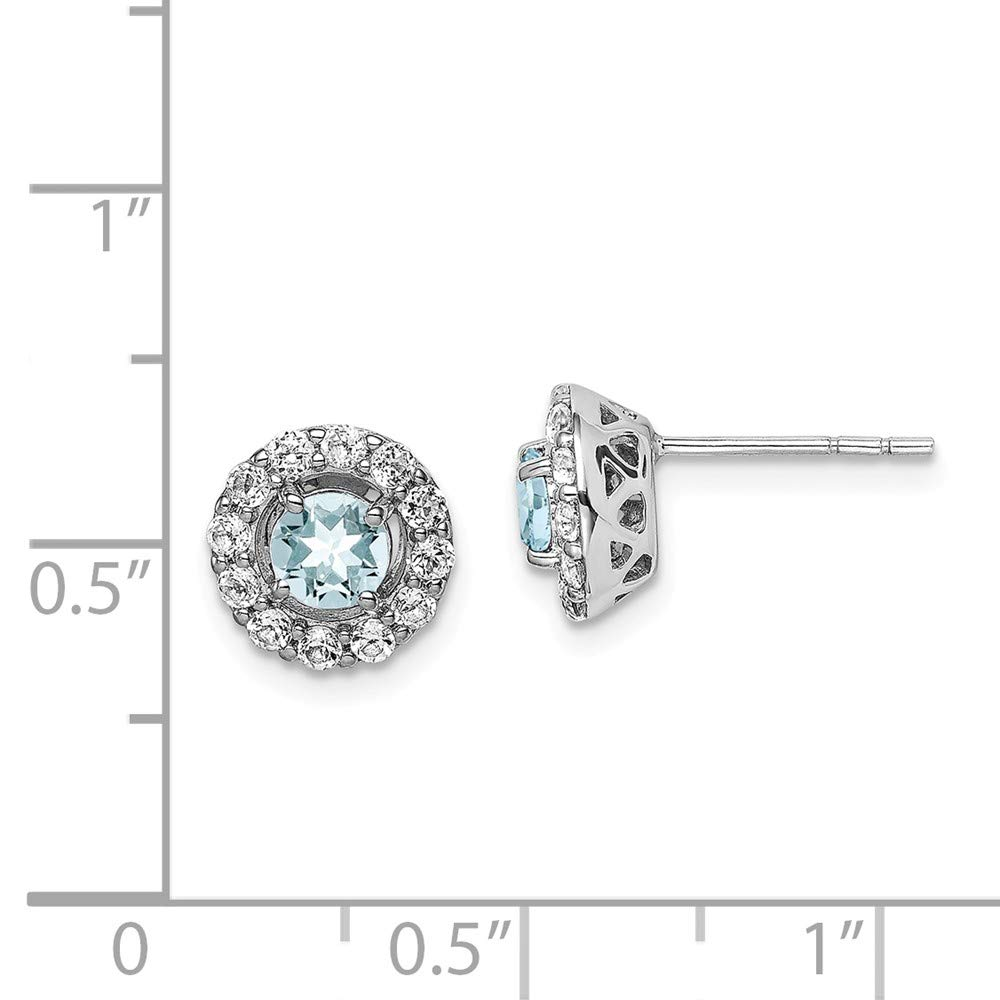 FB Jewels Solid Sterling Silver Rhodium Plated White Topaz /& Aquamarine Earrings