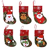 Joyin Toy set of 12 Mini Christmas 3D Stocking Gift & Treat Bags for Christmas Tree Decoration