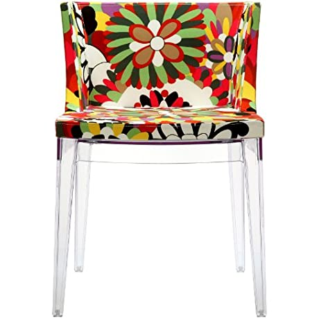 East End Imports EEI 553 CLR Flower Design Accent Chair With Clear Acrylic Base