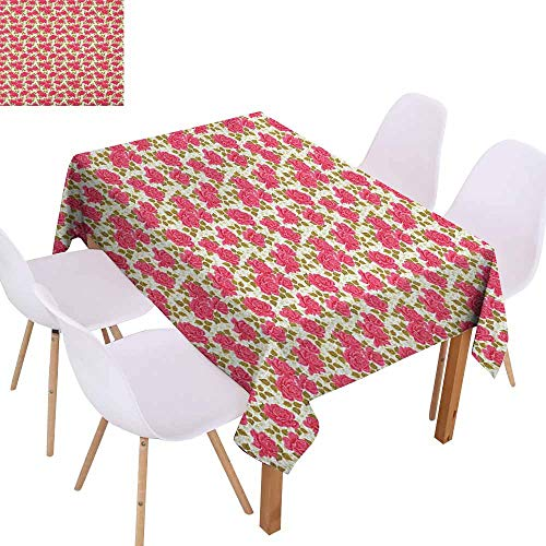 - Marilec Waterproof Tablecloth Romantic Valentines Day Inspired Corsage of Roses with Blooming Petals Fresh Leaves Washable Tablecloth W70 xL102 Yellow Green Pink