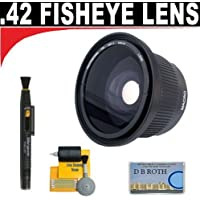 .42x HD Super Wide Angle Panoramic Macro Fisheye Lens + Lenspen + 5 Pc Cleaning Kit + DB ROTH Micro Fiber Cloth For The Sony NEX-VG10 Camcroder Which Have Any Of These A Series (20mm, 24mm f/2, 85mm) Sony Lenses