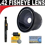 .42x HD Super Wide Angle Panoramic Macro Fisheye Lens + Lenspen + 5 Pc Cleaning Kit + DB ROTH Micro Fiber For The Canon EOS REBEL T5i (EOS 700D), SL1 (EOS 100D), 70D Digital SLR Camera Which Has This(28-135mm, 15-85mm, 18-200mm, 20mm, 35mm, 135mm, 85mm f/1.2) Canon Lens