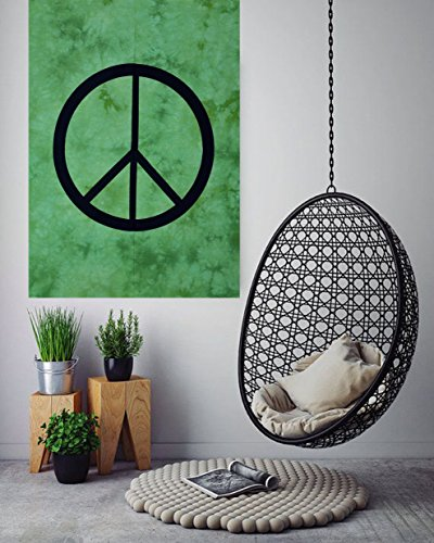 Peace Sign Tie Dye Small Tapestry Poster 30x40 inches Designer Wall Hanging Cotton Sheet Printed By ANJANIYA (Peace Sign Tapestries)