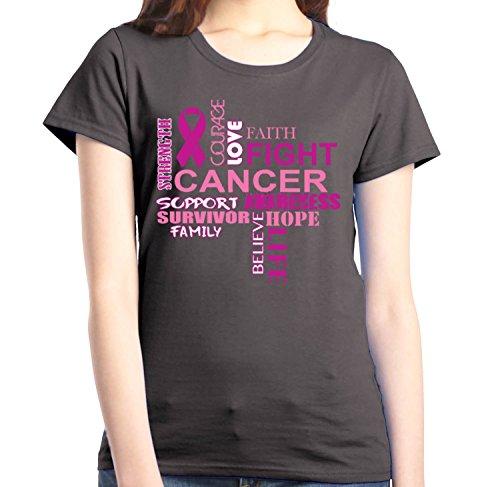 (Shop4Ever Breast Cancer Support Women's T-Shirt Breast Cancer Awareness Shirts XXX-LargeCharcoal)