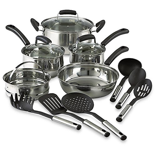 14-piece-stainless-steel-nonstick-cookware-piece-set-pots-pans-kitchen-cooking