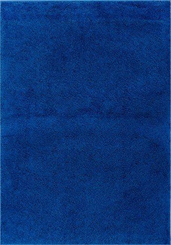 Well Woven Madison Shag Plain Dark Blue Modern Solid Area Ru