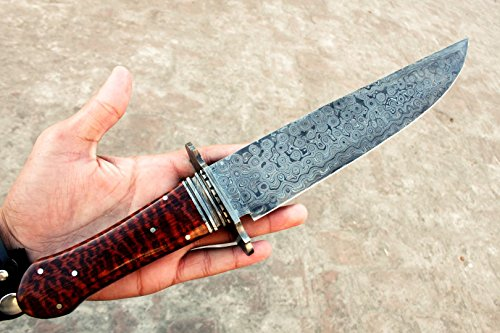 (13 8/18) DKC-191 Snake Eyes Damascus Steel Bowie Hunting Knife 17″ Long 11″ Blade 26 oz ! High Class Knife DKC Looks Incredible Rare Snake Eye Hardwood, Damascus Bolster Limited Edition For Sale