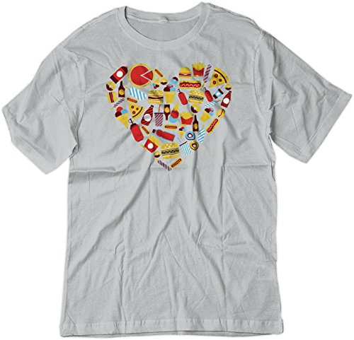 Price comparison product image BSW Youth Fast Food Heart Love Burger Pizza Fries Theme Shirt SM Silver