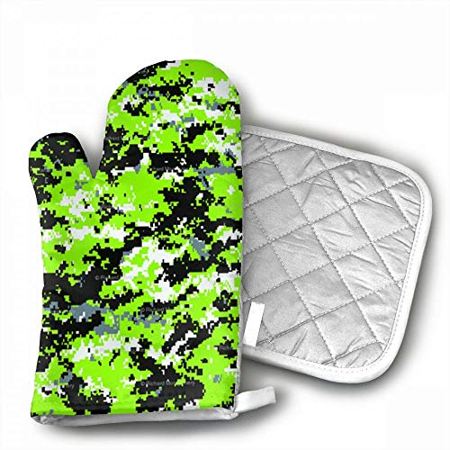 Zombie Camo Oven Mitts,Professional Heat Resistant Microwave