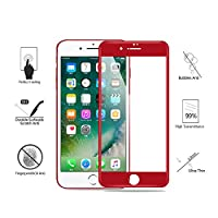 (Pack of 2) iPhone 7 Plus Screen Protector, Akwox Full Cover iPhone 7 Plus Tempered Glass Screen Protector with ABS Curved Edge Frame, Anti-Fingerprint HD Screen Protector Film for iPhone 7 Plus (Red) by Akwox