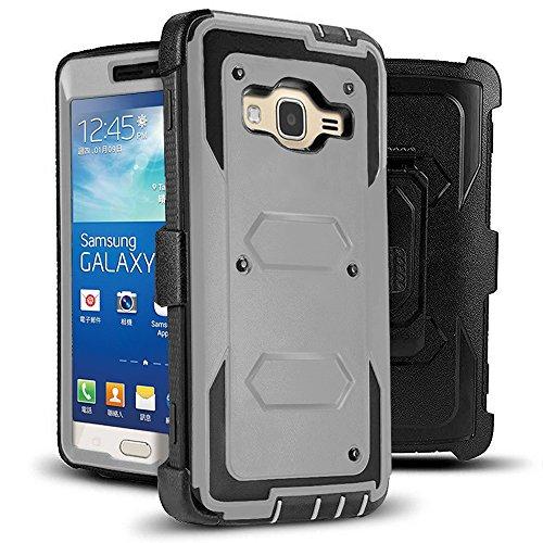 J.west Galaxy Grand Prime/Go Prime Case Rugged Holster Dual Layer Case [Kickstand][Belt Swivel Clip] for Samsung Galaxy Grand Prime (G530 G530H G530F G530M G530T G530AZ S920C), Grey