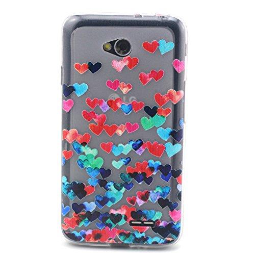 LG L70 Case, MagicSky Loves Pattern Slim fit Dust Proof Hybrid Back Case TPU Translucent Showoff Design Case Cover for LG L70