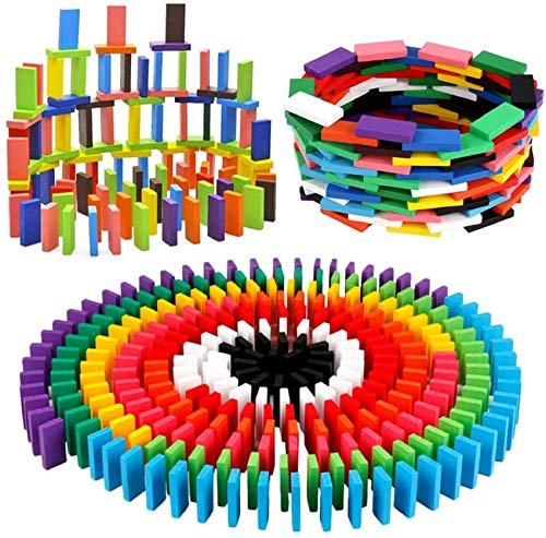 BigOtters 360PCS Super Domino Blocks, 12 Colors Wooden Domino Blocks Building Block Tile Game Racing Educational Toy for Kids Birthday Party Favor