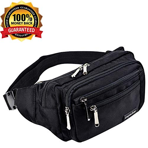 Oxpecker Waist Pack Bag with Rain Cover, Waterproof Fanny Pack for Men&Women, Workout Traveling Casual Running Hiking Cycling, Hip Bum Bag with Adjustable Strap for Outdoors