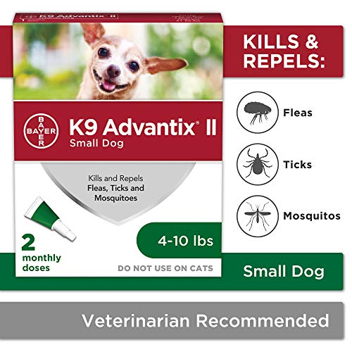 Bayer K9 Advantix II Flea, Tick and Mosquito Prevention for Small Dogs, 4 - 10 lb, 2 doses (Flea Tick And Mosquito Control For Dogs)