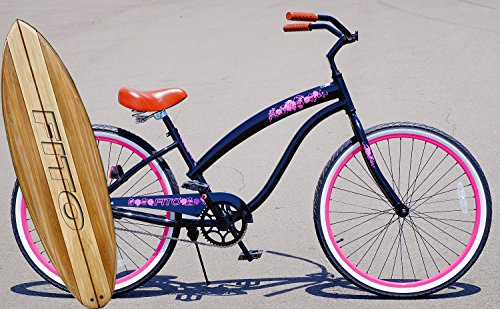 Anti-Rust Aluminum frame, Fito Modena II Alloy Single 1-speed - Black / Pink rims, women's 26