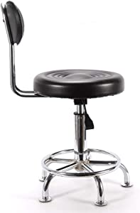 RANZHIX Black Rolling Stool 360-Degree Rolling Swivel Adjustable Work Stool Chair Round Swivel Garage Mechanics Shop Drafting Stools with Wheels for Home Office Spa Shop Desk