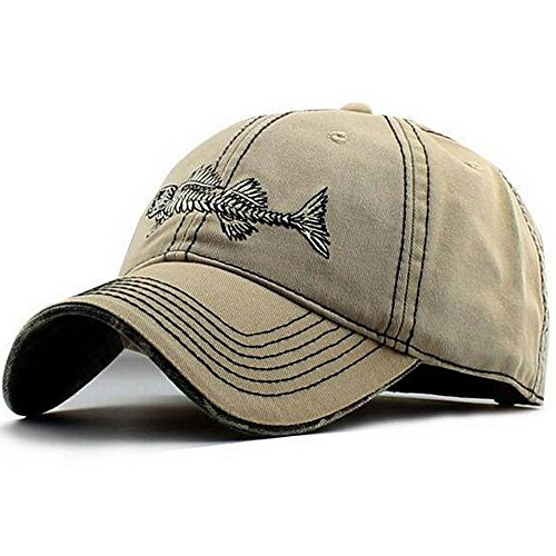 AKIZON Fishing Baseball Trucker Cap With Fish Bones | Wide Brim, Adjustable Velcro Strap For Comfy Fit & Breathable Cotton Hat | Protect From Sun, Glare & Wind | For Sports, Hunting, Camping (Khaki)