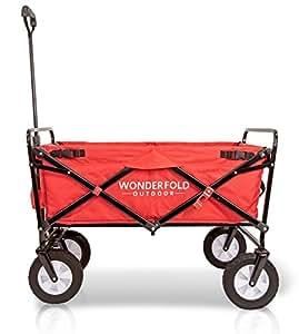 wonderfold al aire libre próxima generación mejor rendimiento de dirección utilidad Wagon plegable con bolsa de poliéster (función de primavera de rebote, Auto cerraduras de seguridad, mango extraíble), color rojo