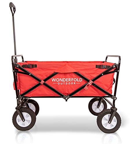 WonderFold Outdoor NEXT GENERATION Best Utility Folding Wagon with Removable Polyester Bag (Spring Bounce Feature, Auto Safety Locks, Handle Steering Performance) - Scarlet Red
