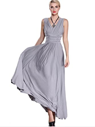 0015cde7d3a Lalagen Women s Sleeveless Ruched V Neck Plus Size Evening Party Maxi Dress  Gray XL