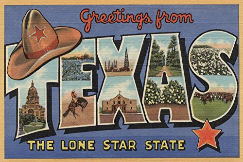 (Texas - Greetings From The Lone Star State - Vintage Halftone (9x12 Art Print, Wall Decor Travel Poster))