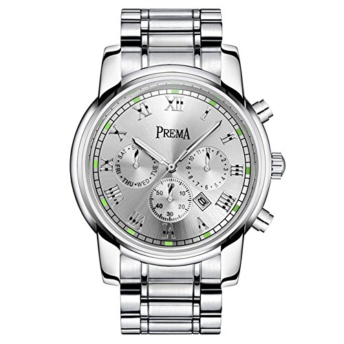 Watch Date Quartz Day (Smalody Top Luxury Brand Men Sports Watch Men's Quartz Day Date Clock Fashion Luminous Full Stainless Steel Watch Strap Male Wrist Watch (White))