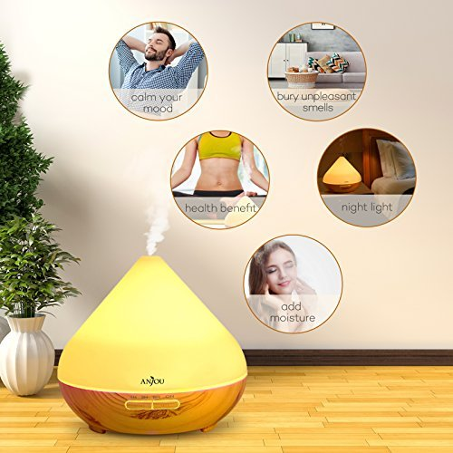 Anjou Essential 300ml, Ultrasonic Aroma Mist for Home Decor Gift, to 8H Use, Auto LED Grain, BPA-free