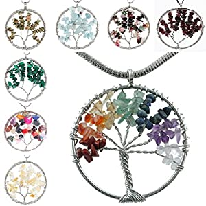 SUNYIK Wire Wrapped Tree of Life Tumbled Stone Beads Pendant