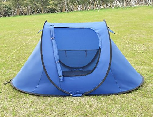 """K&A Company 2-3 Persons Waterproof Camping Tent with Carry Bag New Outdoor 210D Oxford 94.5"""" x 55"""" x 43.3"""" Dark Blue"""