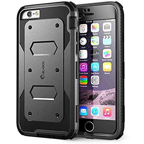 iPhone 6S Case, [Heave Duty] i-Blason Apple iPhone 6 Case 4.7 Inch Armorbox [Dual Layer] Hybrid Full-body Protective Case with Front Cover and Built-in Screen Protector / Impact Resistant Bumpers (Iphone 6 Case Armor Rugged Black)