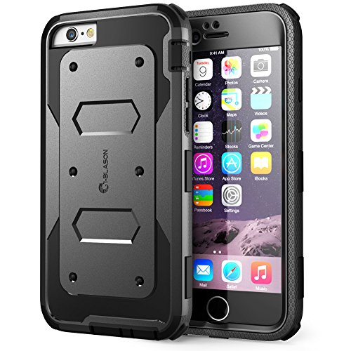 iPhone 6S Case, [Heave Duty] i-Blason Apple iPhone 6 Case 4.7 Inch Armorbox [Dual Layer] Hybrid Full-body Protective Case with Front Cover and Built-in Screen Protector / Impact Resistant Bumpers (Black) - Armored Case
