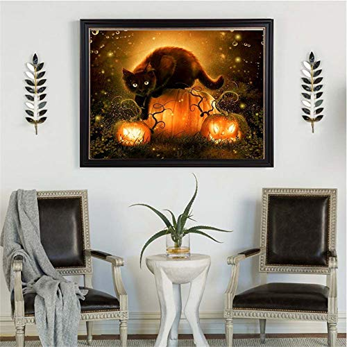 Euone  Halloween Clearance , DIY Pumpkin Cat Diamond Painting Halloween 5D Embroidery Paintings Rhinestone Pasted