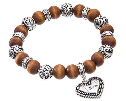 Jewelry Nexus Mom Script Love Heart Charm Filigree Wood Beads Stretch Bracelet