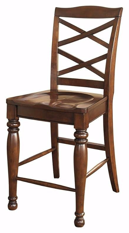 ashley furniture signature design porter barstool rustic style motif back set of
