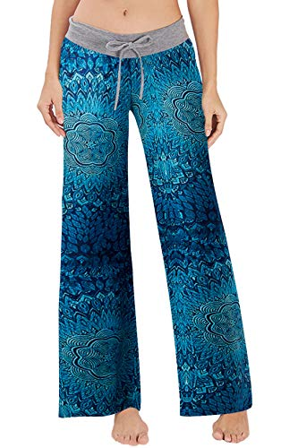 RAISEVERN Women's Casual Pajamas Pants Blue Boho Flower Summer Wide Leg Palazzo Lounge Pants High Waisted Drawstring Comfy Sleepwear Trousers Pyjamas (Weed Pyjamas)