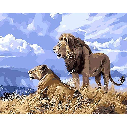 DIY Oil Paint by Numbers Kits for Adults, Beginners New Painters Parents Elders. Creative Gift Idea Surprise. Lion and Leopard 19.7x15.7in 1 Pack by Juntop