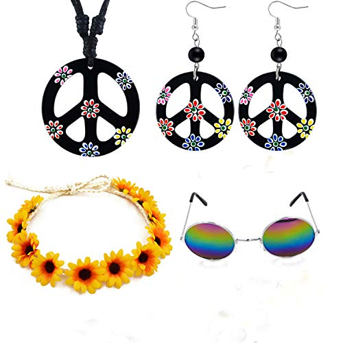 Woodstock Halloween Costume (New Hippie Costume Set-Peace Sign Pendant Necklace Earrings and Disco Glasses Hippie Outfit for Halloween Costume and Woodstock Themed Costume Party)